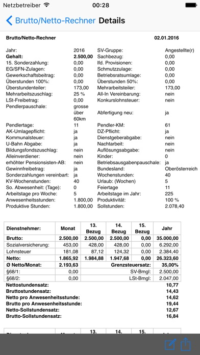 Screenshot for BruttoNetto in Austria App Store