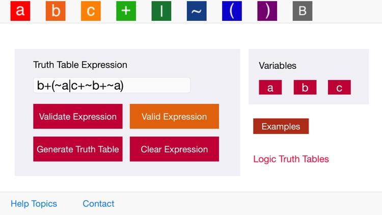 Logic Truth Tables screenshot-0