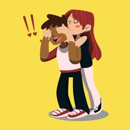 Hugging Couple Stickers