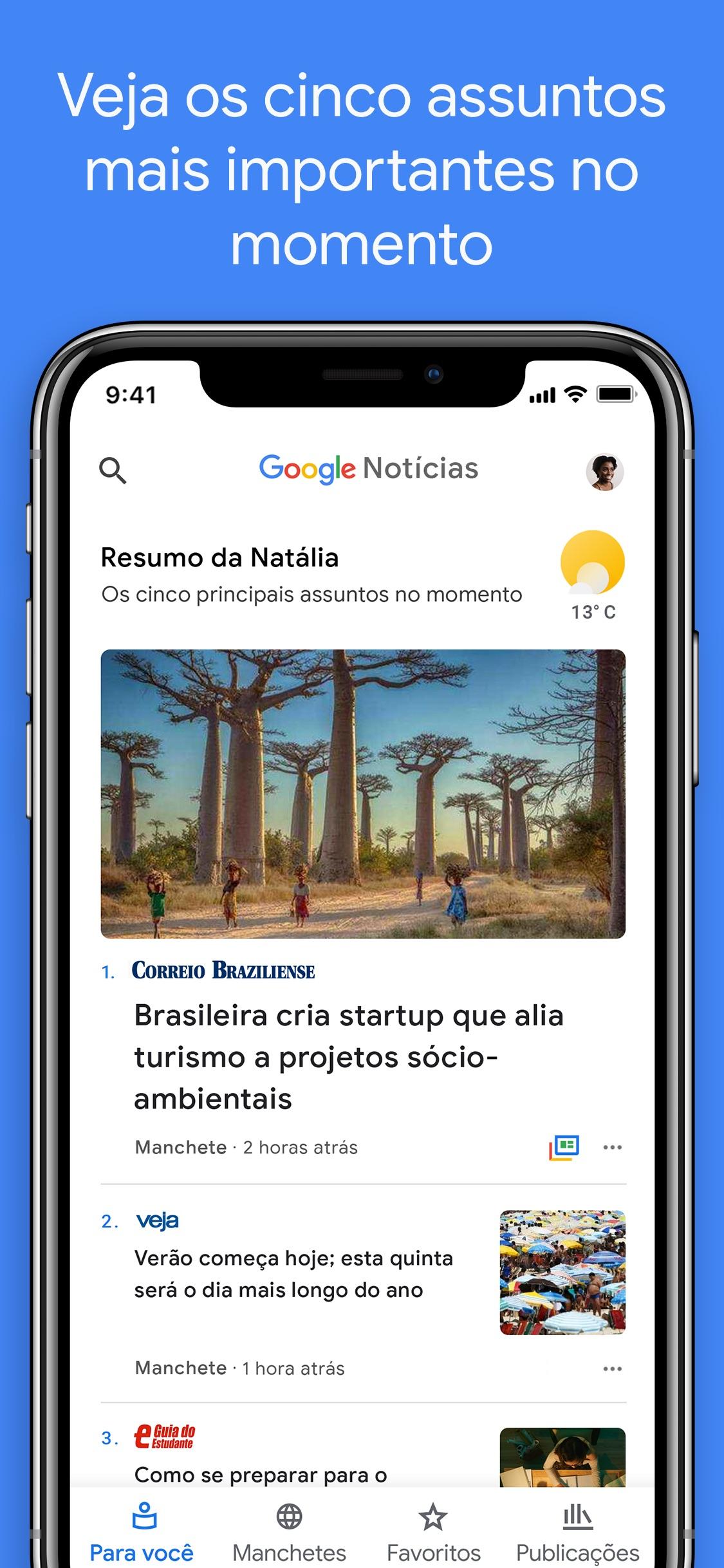 Screenshot do app Google Notícias