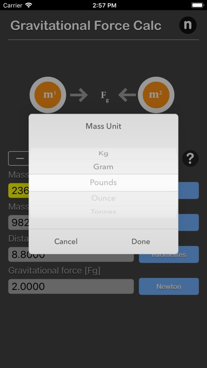 Gravitational Force Calculator screenshot-3
