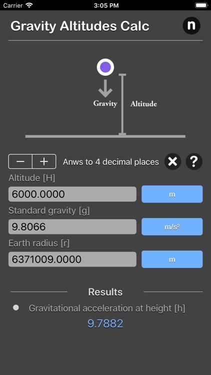 Gravity Altitudes Calculator