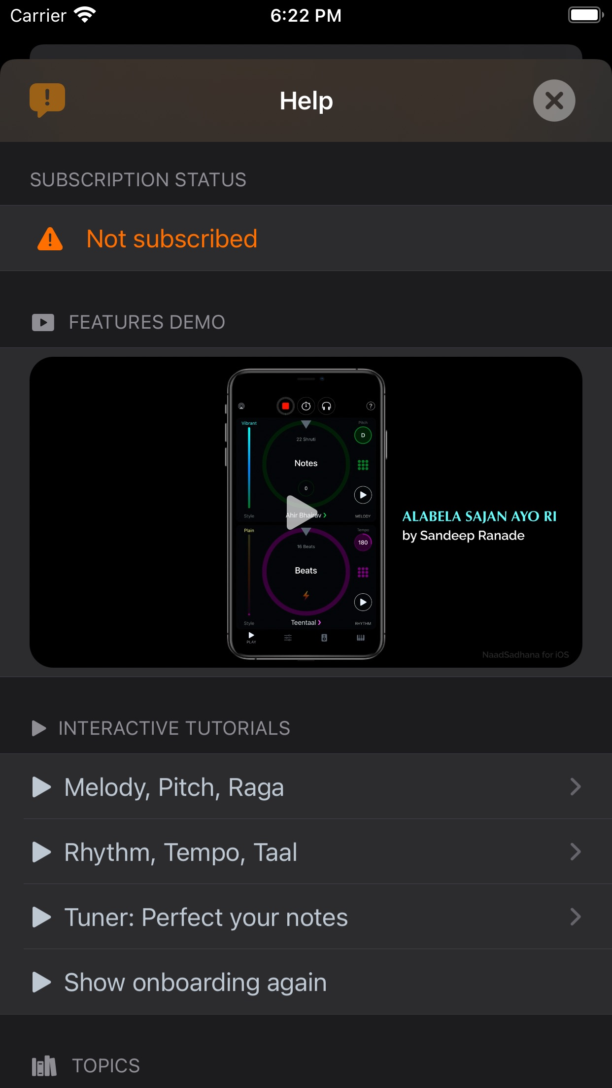 Screenshot do app NaadSadhana