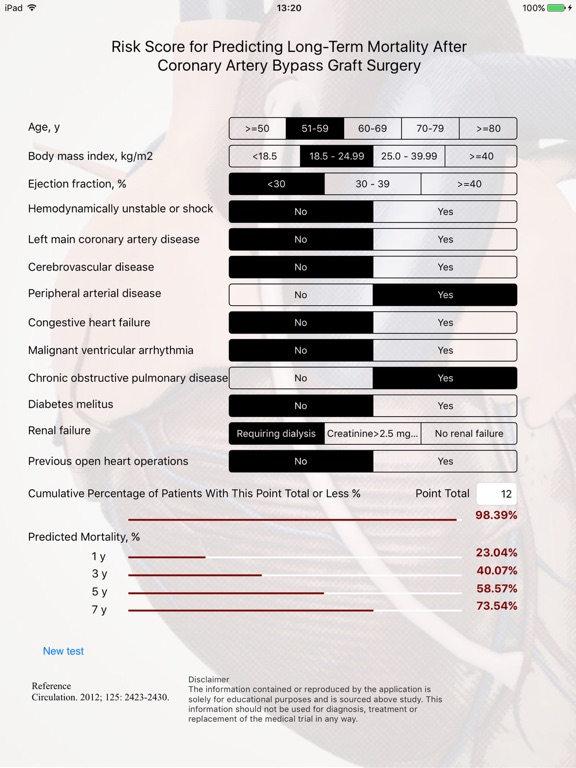 CABG Risk Screenshots