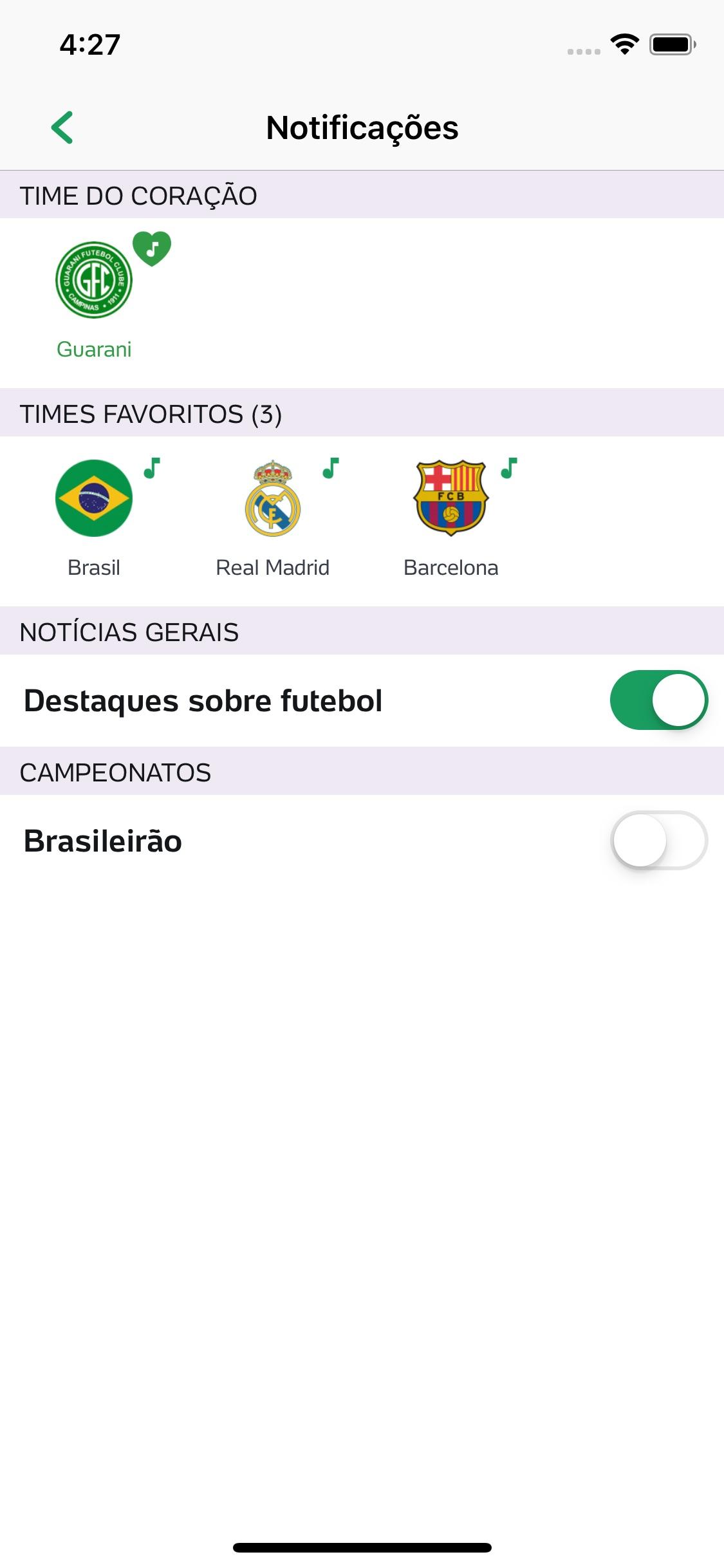 Screenshot do app Placar UOL - Futebol