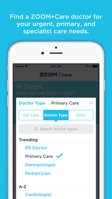 ZOOM+Care On-Demand Healthcare screenshot two