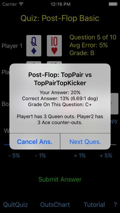 Hold'em Odds Quizzer screenshot three