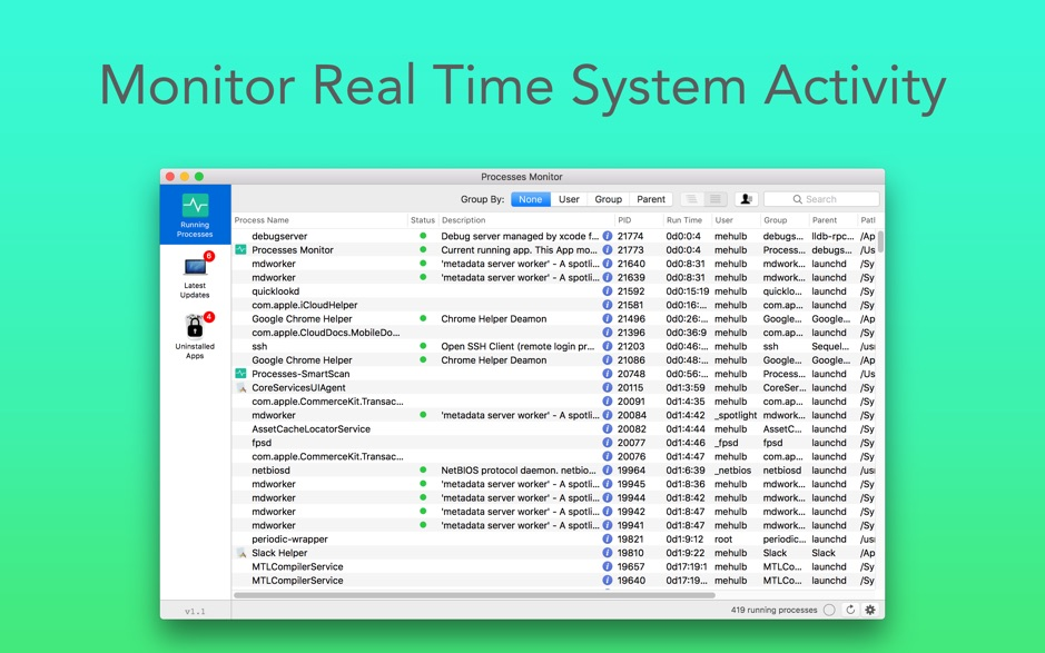 Processes Monitor 1 1 – Info for active processes in the