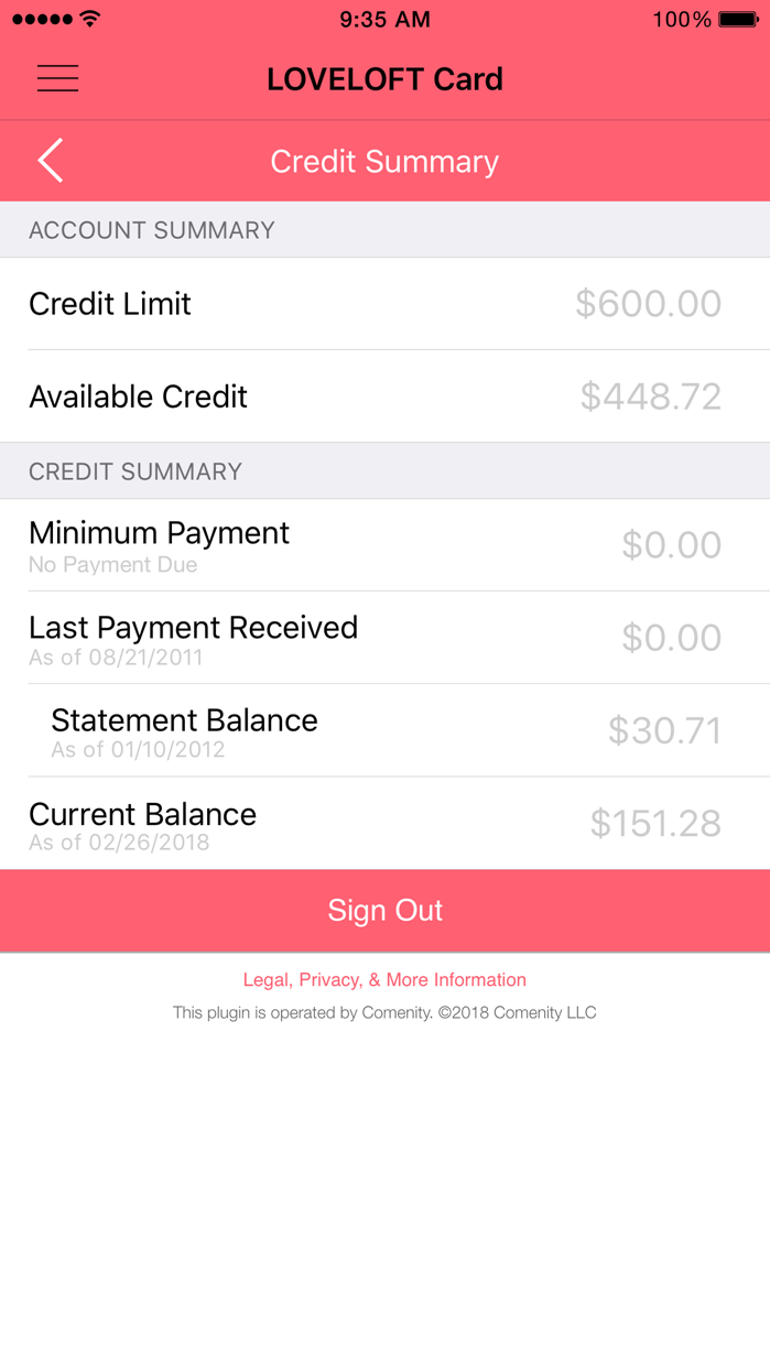 LOFT Card Screenshot