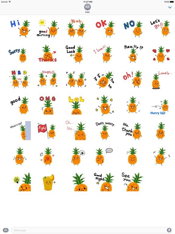 Cute Pineapple Emoji Sticker screenshot 4