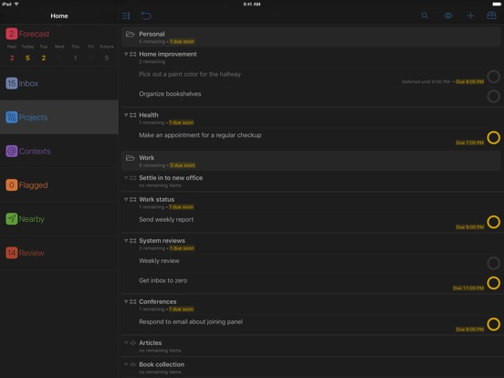 OmniFocus 2 Screenshots