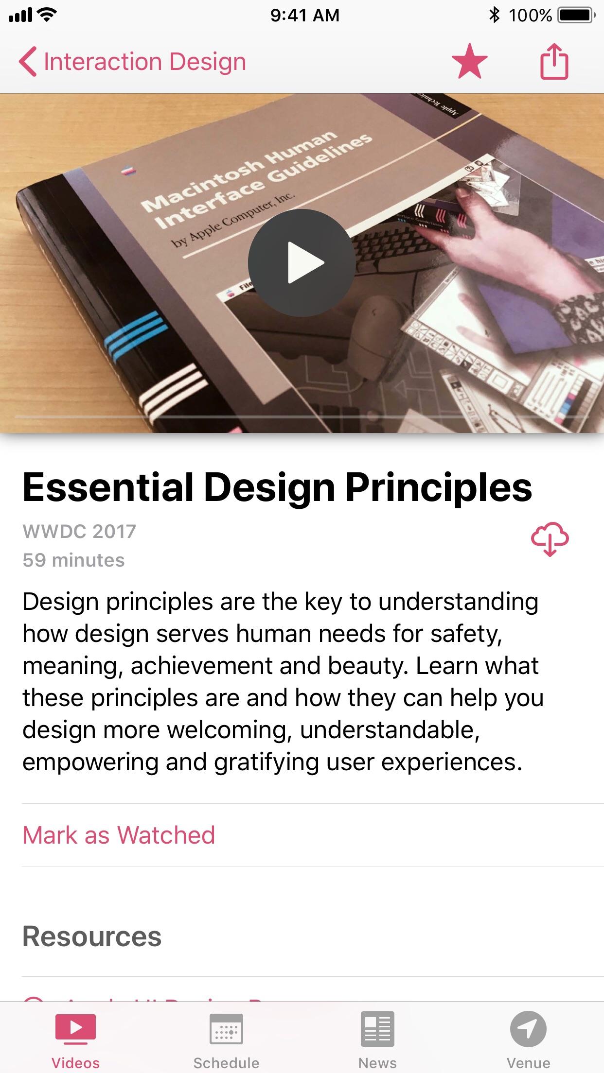 Screenshot do app WWDC