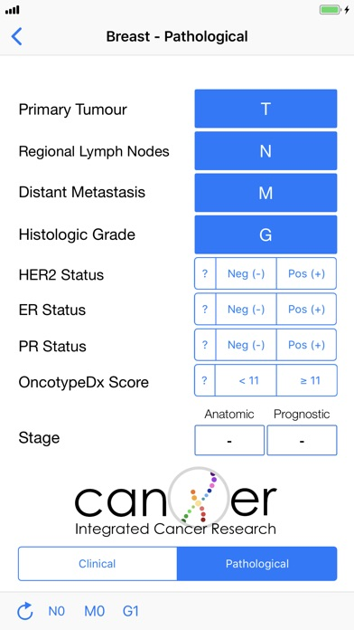 TNM Cancer Staging Calculator Screenshots