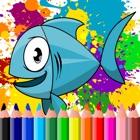 Libro para colorear de los pescados de mar para icon