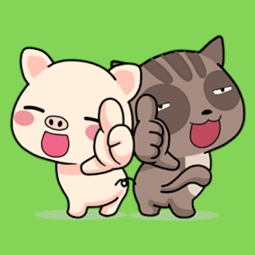 Pig and Cat Lovely Friend