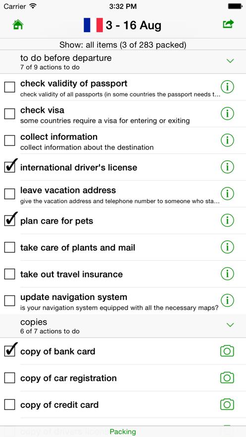 GetPacked: packing list App 截图