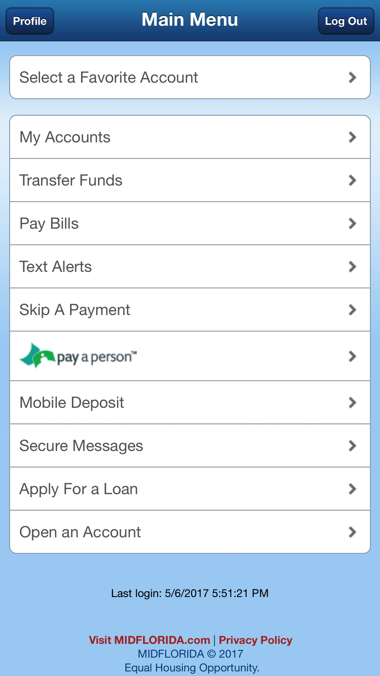 MIDFLORIDA Mobile Branch Screenshot
