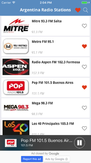 Argentina Radio Music, News Mitre, Metro, Pop Mega on the