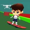 酷滑滑板游戏的孩子们:无人机滑板