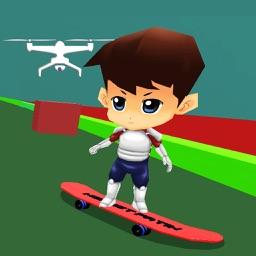 Cool skateboard game for kids: Drone Skateboarding