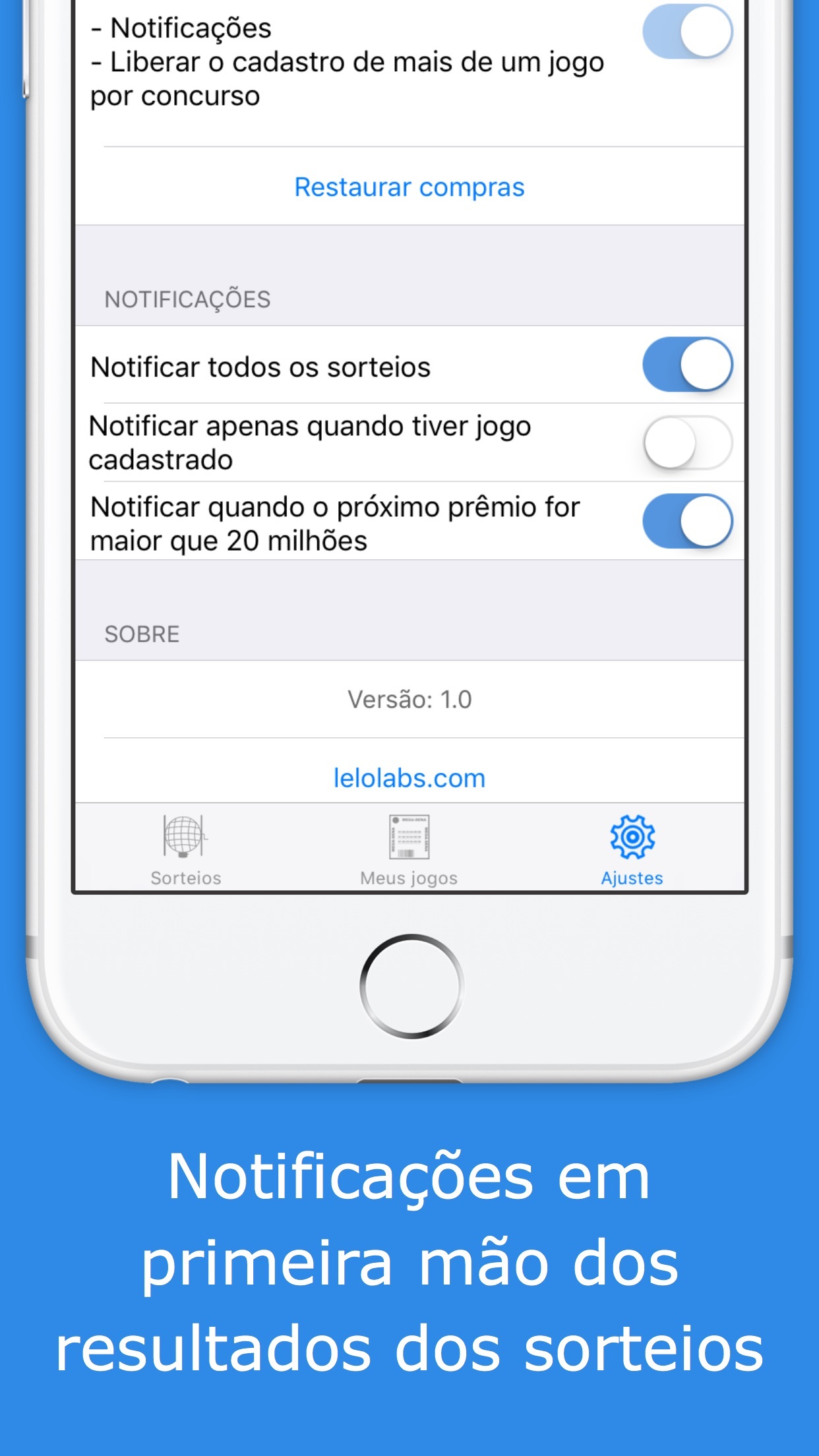 Screenshot do app Ganhei? - Resultados Mega Sena