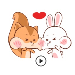 Animated Happy Rabbit and Squirrel Stickers