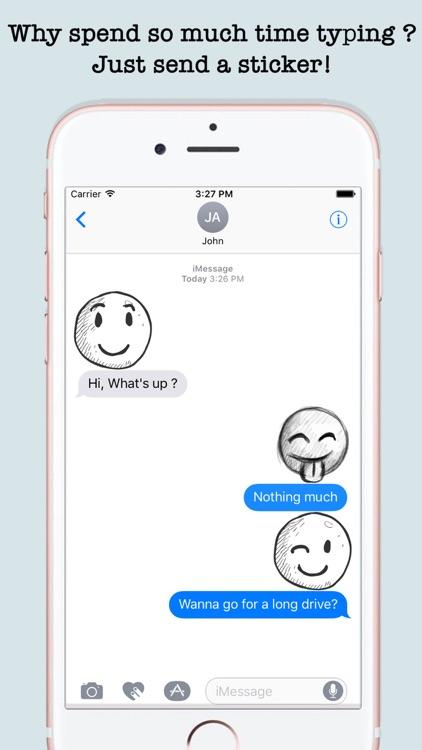 Handdrawn Emojis & Smileys For iMessage screenshot-4