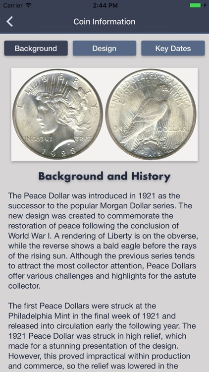 Peace Dollars - Coin Guide & Collection Tracker