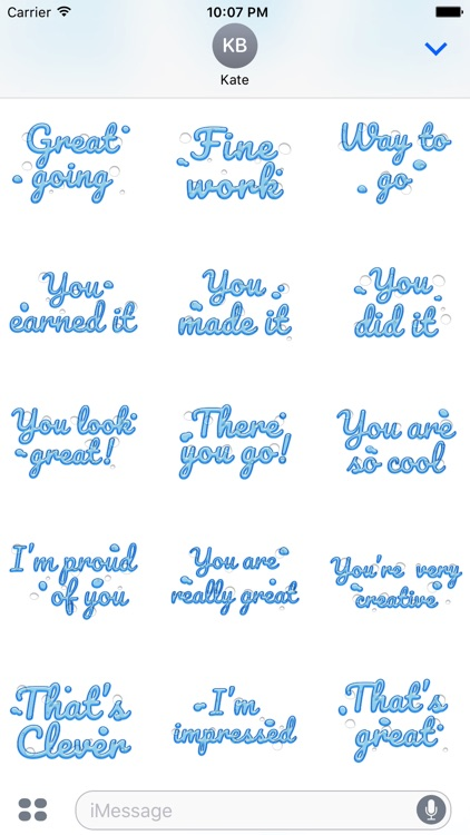 Compliment - Cool Water Text Stickers screenshot-4