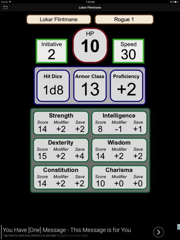 Fifth Edition Character Sheet by Walter Kammerer (iOS, United States