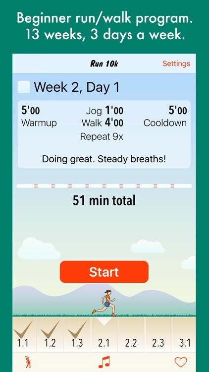 Run 10k - interval training program + stretches