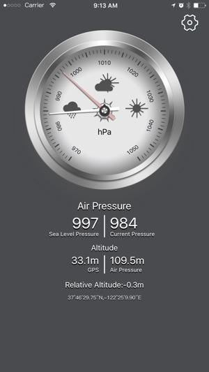 Barometer GPS - hiện tại barometric & độ cao