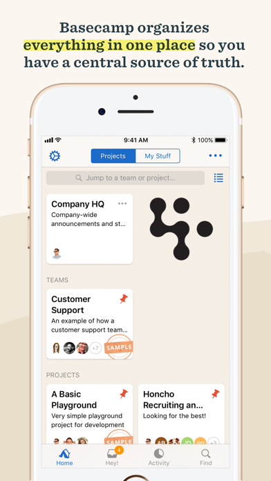 Screenshot 1 for Basecamp's iPhone app'