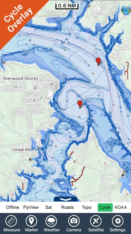 Lake Texoma GPS offline fishing charts navigator