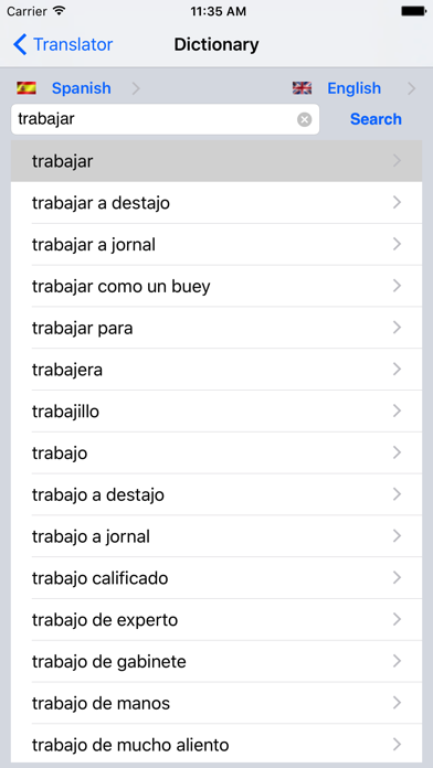 English/Spanish Dictionary screenshot one