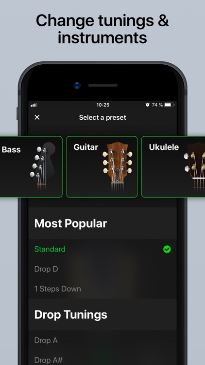 Guitar Tuner Pro, Bass,Ukulele screenshot-2