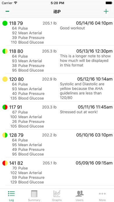 iBP Blood Pressure screenshot1