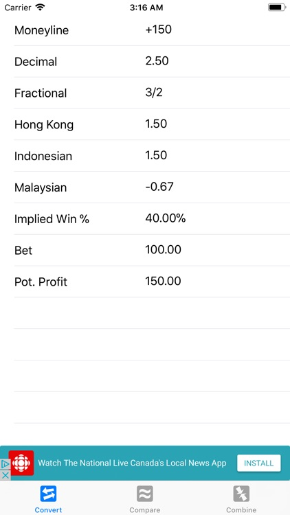 Sports Betting Odds Calculator