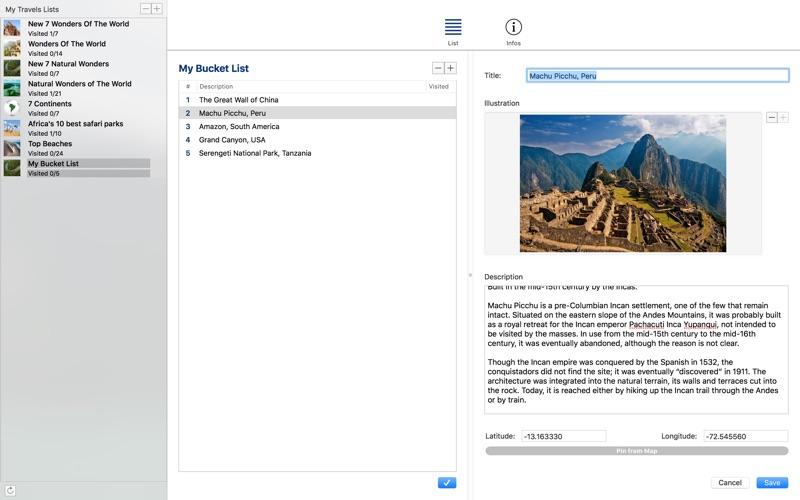 My Travels Lists скриншот программы 4