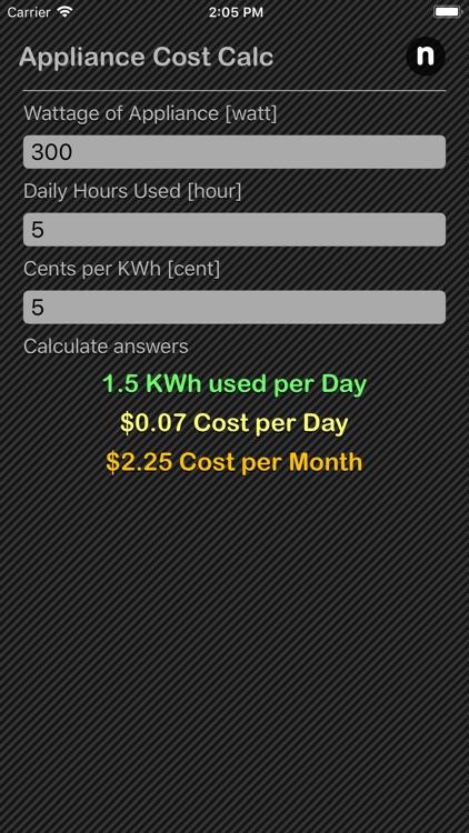 Appliance Cost Calculator