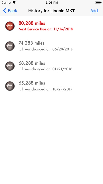 Oil Change History screenshot-2