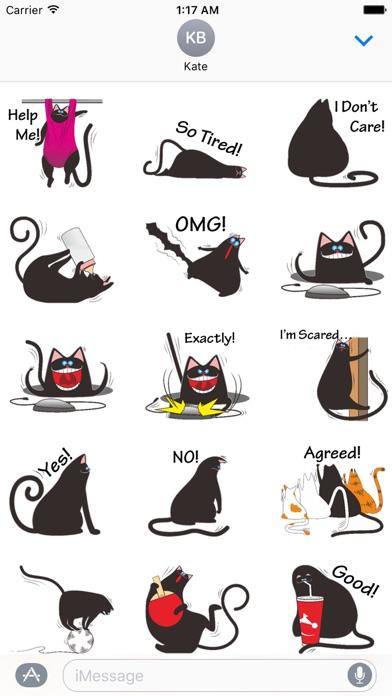 Chubby Black Cat Emoji Sticker screenshot 1