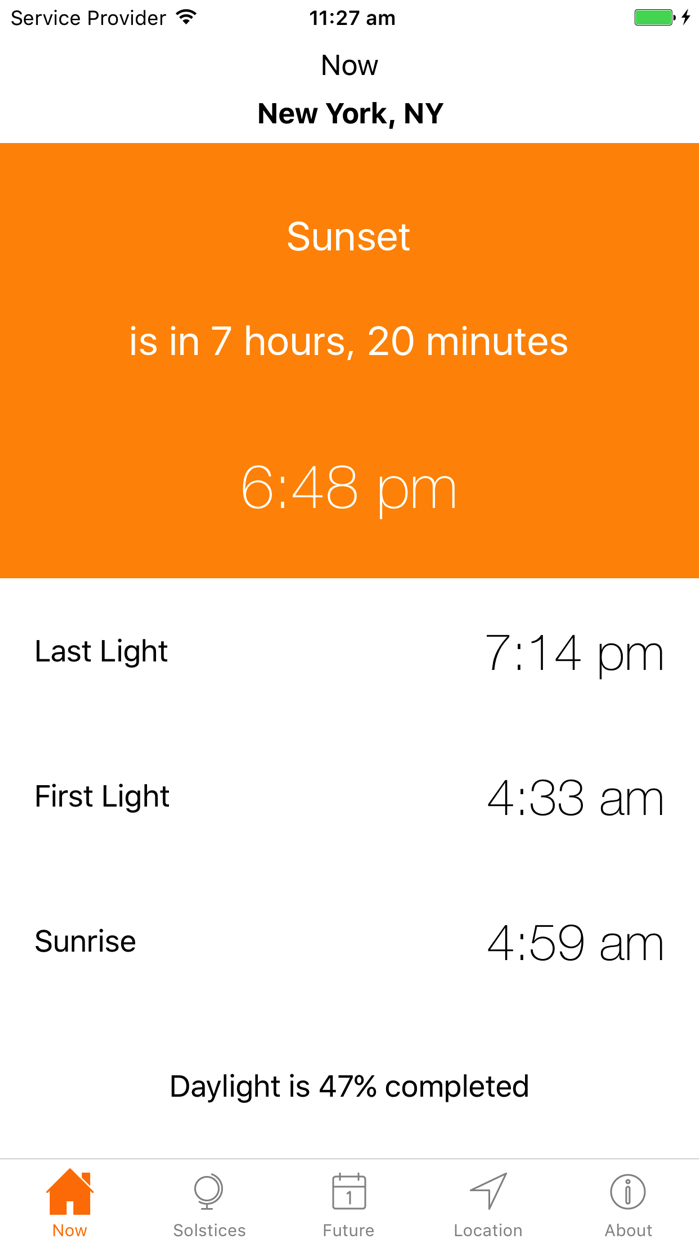 Sunrise Sunset Times Screenshot