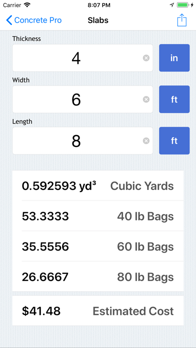 Concrete Pro - Cost Calculator screenshot one