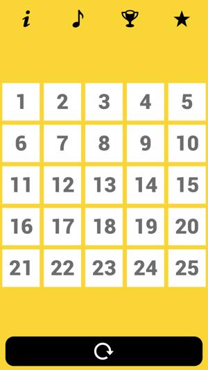 1 tot 25 Nummer Spel Screenshot