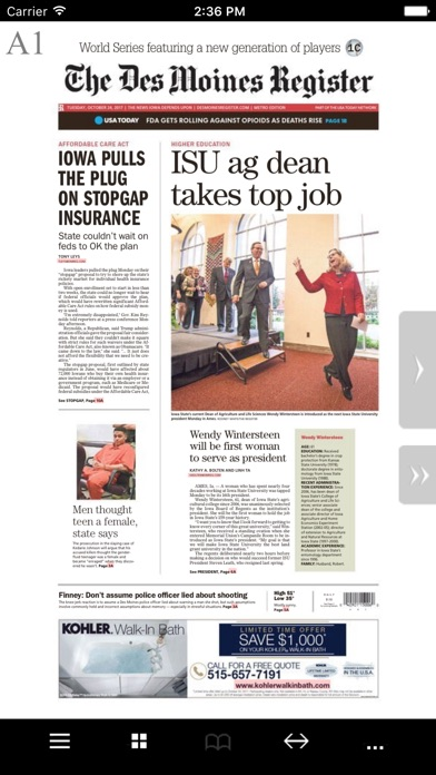 Des Moines Register Print Screenshot on iOS