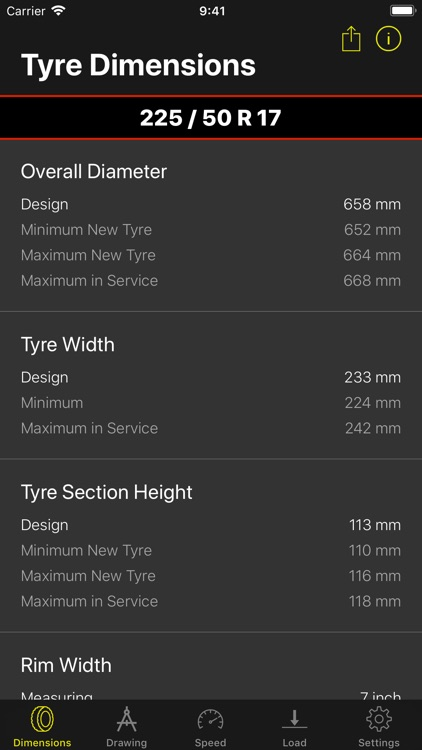 Tyre Dimensions screenshot-0