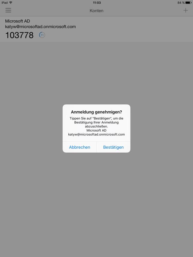 Microsoft Authenticator Screenshot