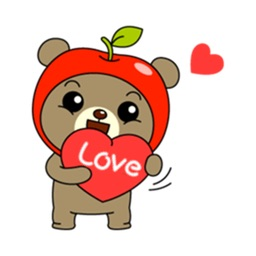 Cute Apple Bear Sticker