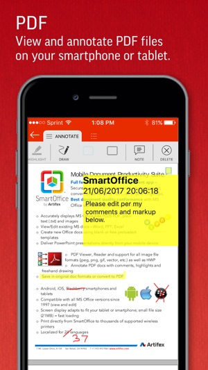 SmartOffice - Document Editing Screenshot